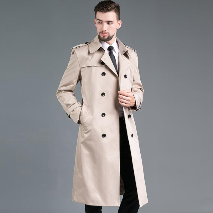 Mens Trench Coats Man Long Coat Men Double-breasted Clothes Slim Fit Overcoat Long Sleeve 2020 New Designer Khaki Black Blue