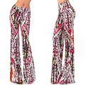 Hot Bell Bottom Pants Hippie Boho Multi Painted Print Stretch Wide Leg Trousers