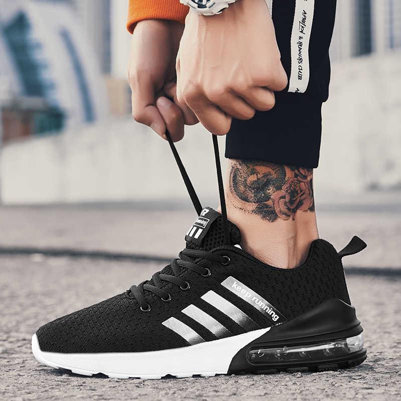 Мужские кроссовки; Повседневная брендовая мужская обувь; сетчатая обувь на плоской подошве с воздушной подушкой; дышащая весенняя обувь без застежки; Лидер продаж; большие размеры