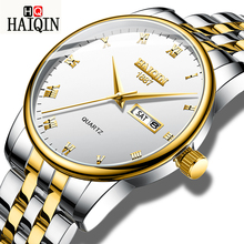 HAIQIN часы мужские золотые стальные военные кварцевые часы спортивные наручные часы мужские лучшие брендовые роскошные часы Relogio Masculino 2019