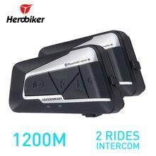 HEROBIKER 2 компл. 1200 м BT мотоциклетный шлем домофон Водонепроницаемый Беспроводной Bluetooth гарнитуры Мото Переговорные FM радио для 2 поездки