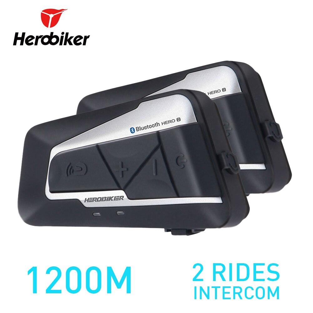 HEROBIKER 2 Sets 1200M BT Motorcycle Helmet Intercom Waterproof Wireless Bluetooth Moto Headset Interphone FM Radio for 2 Rides