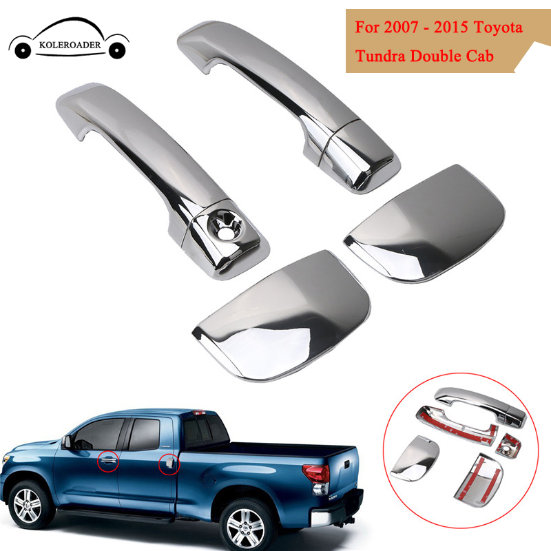 KOLEROADER ABS Door Handle Cover Trim Chrome For Toyota Tundra Double Cab 4 Door 2007 - 2015 Car Accessories Handles Trim //