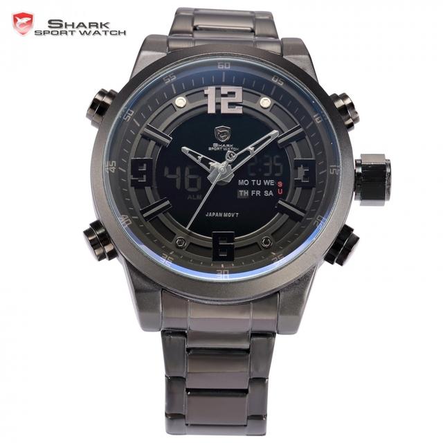 Basking shark sport watch dual time data alarme lcd preto digital resistente à água banda relogio de quartzo de aço homens relógio de pulso/sh343