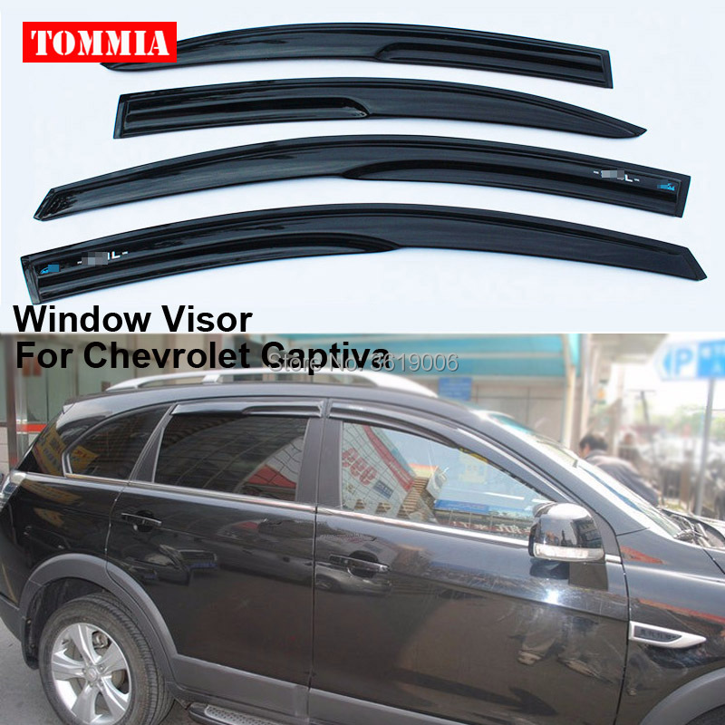 tommia Fit For Chevrolet Captiva 12-17 4pcs Window Visor Shade Vent Wind Rain Deflector Guards Cover 2015 2017 car wind deflector awnings shelters for hilux vigo revo black window deflector guard rain shield fit for hilux revo