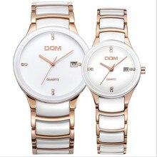 2017 dom fashionlovers' estilo del negocio del reloj 30 m impermeable reloj de pulsera de cuarzo de lujo ocasional de cerámica fecha automática relojes de los pares