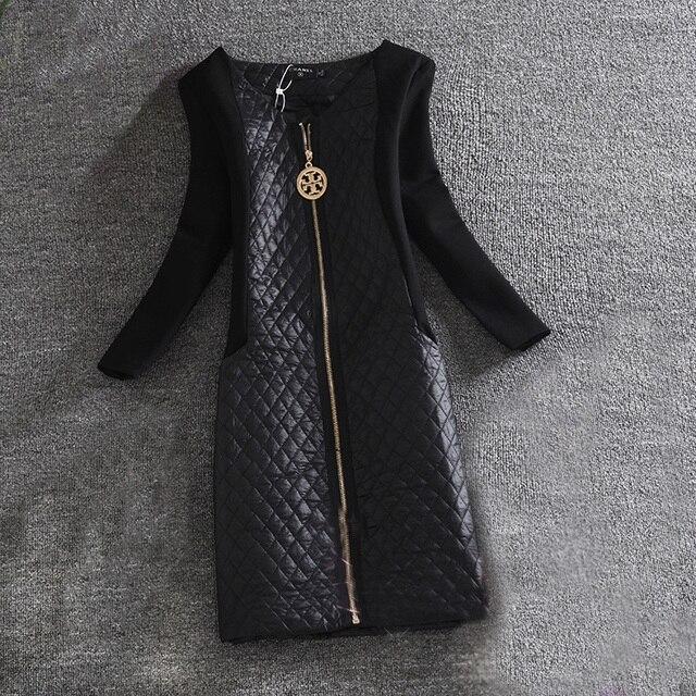 2016 New winter and Autumn thick dresses casual women solid PU long sleeve dresses vestidos de festa
