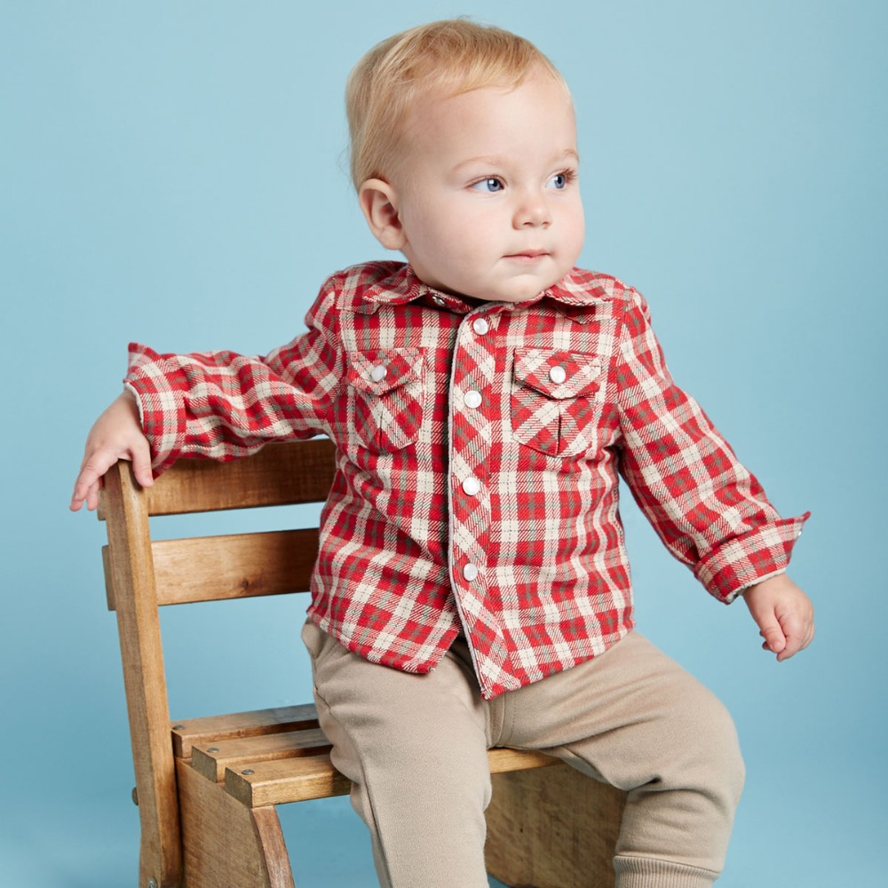 DB2275 dave bella autumn winter baby boys padded shirt cotton tops baby red plaid shirt infant