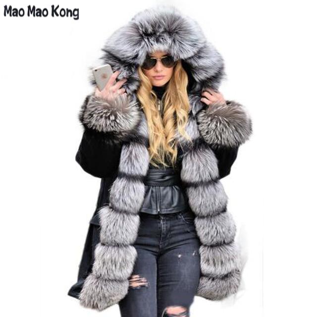 Aliexpress.com : Buy MaoMaoKong Genuine Silver Fox Fur Collar ...