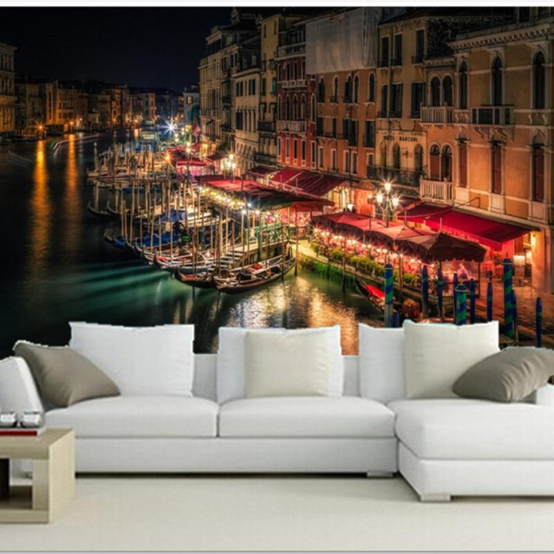The Custom 3d Murals Venice Canal Night Street Lights Cities Wallpapers Living Room Sofa Tv Wall Bedroom Wall Paper 3d Mural Wall Paperbedroom Wall Paper Aliexpress