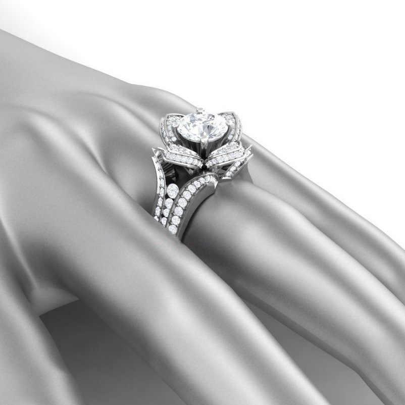 Vecalon 2 สี Birthstones ดอกไม้แหวนเงินคริสตัล CZ งานแต่งงานแหวนผู้หญิงเครื่องประดับเจ้าสาว