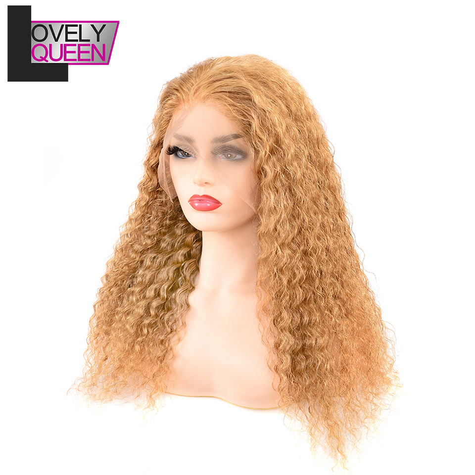 Lovely Queen Lace Frontal Human Hair Wigs Remy Deep Wave #27 Human Hair Wigs 13x4 Pre Plucked With Baby Hair For Women