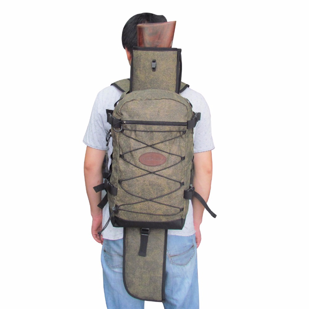 Tourbon Tactical Hunting Backpack Canvas & PVC with Large Capacity Detachable Shotgun Holster 90CM Outdoor Men Bag for Shooting