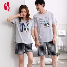 Summer Women Breathable Cotton Pajama Set Bulldog Couples Sleepwear Two Piece Shirt+Shorts Animal Casual Homewear Pyjama