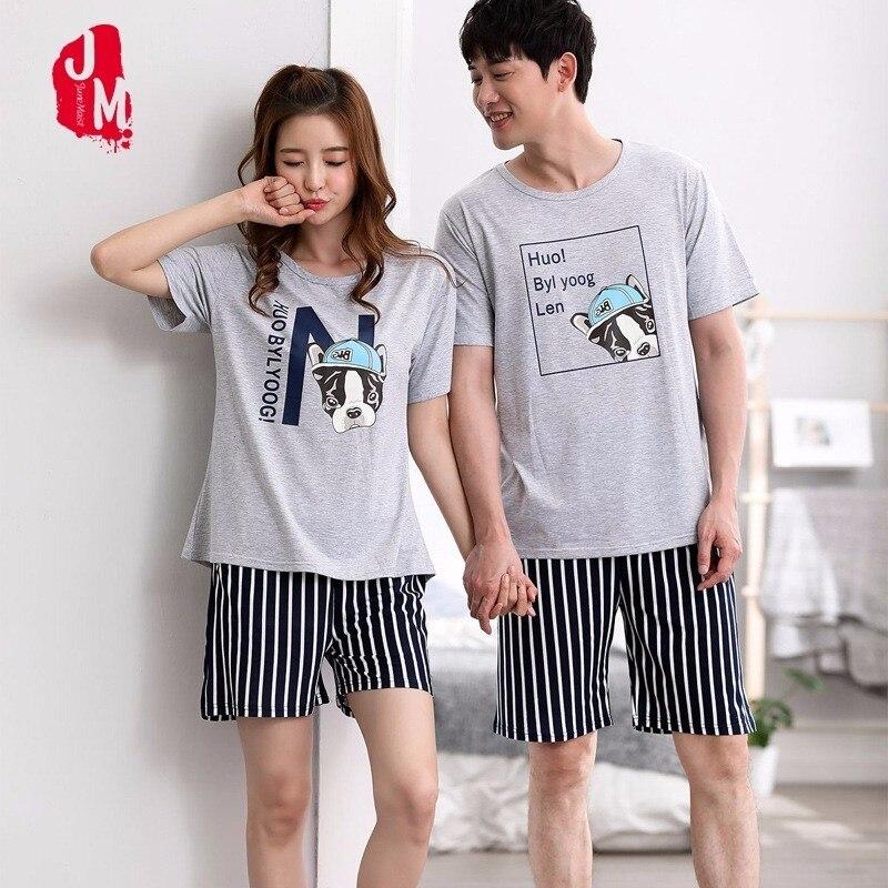 Summer Women Breathable Cotton Pajama Set Bulldog Couples Sleepwear Two Piece Set Shirt+Shorts Animal Casual Homewear Pyjama