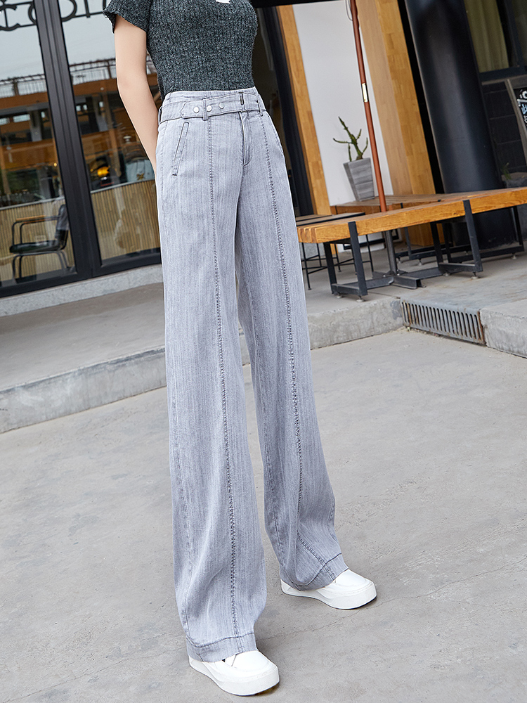 High Waist Straight   Jeans   Women Summer Tencel Gray Casual Loose Wide Leg   Jeans   Trousers Striped Full Length Sashes Palazzo Pants