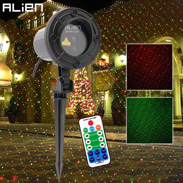 Cheap ALIEN Remote RG Star Dots Motion Christmas Laser Light Projector Outdoor Waterproof Garden Outdoor Xmas Tree Static Show Lights