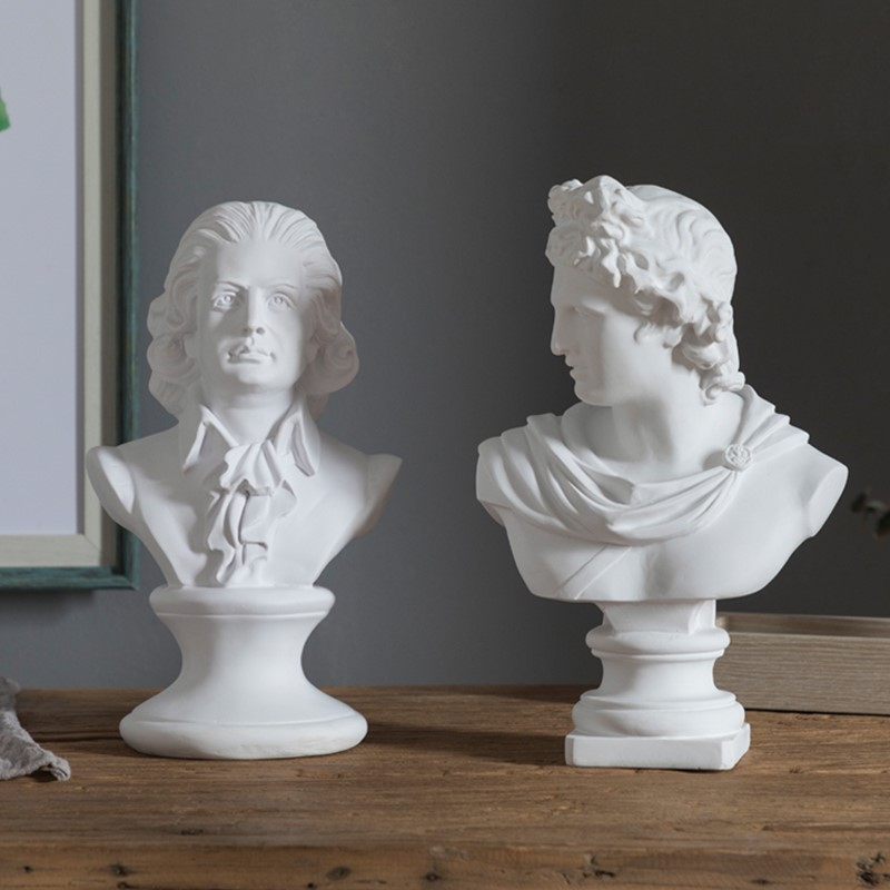 Creative Gift Wolfgang Amadeus Mozart Head Portraits Bust Period Statue Office Hotel Clubhouse Living Room Decoration L1598