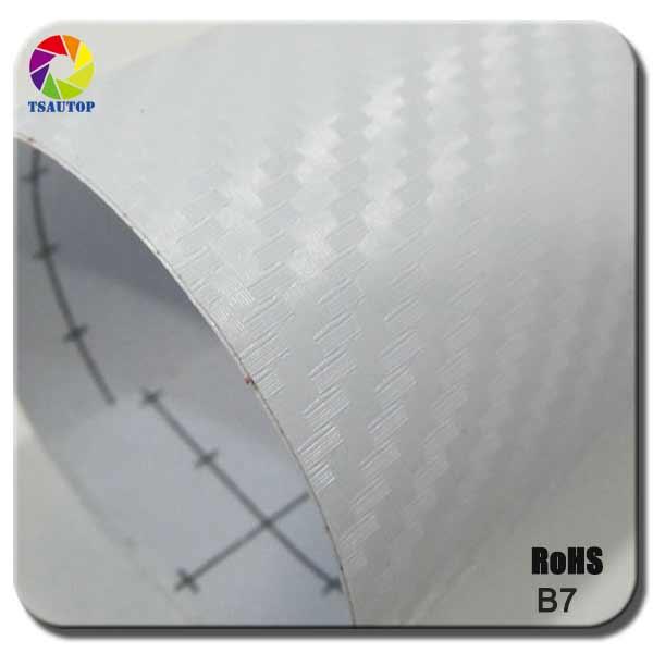 hot sale TSAUTOP Size 1.52x 30m high quality 3d carbon film car vinyl wrap white color b7