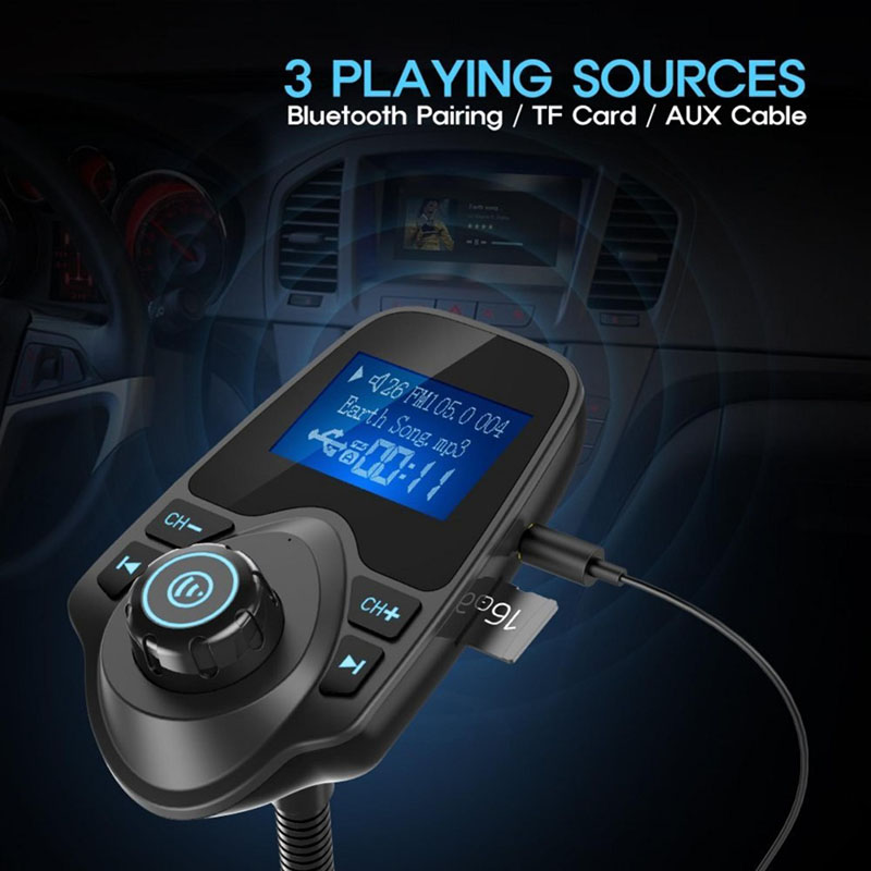 Car Kit Handsfree Wireless Bluetooth Full Frequency FM Transmitter Supports MP3/WMA/WAV Music Player In-Car USB LCD Modulator