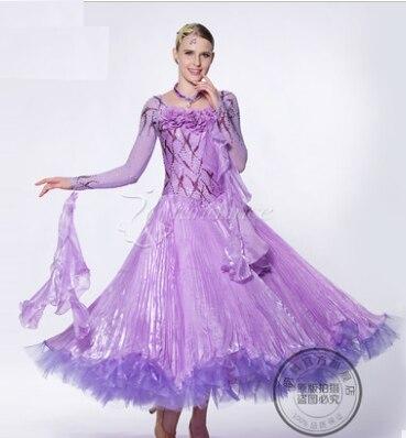 a951e574faef995 Элегантный настроить фиолетовый фокстрот ча-ча Бальные Вальс Танго Сальса  быстрый шаг конкурс Танцы платье Бальные платья Salsa