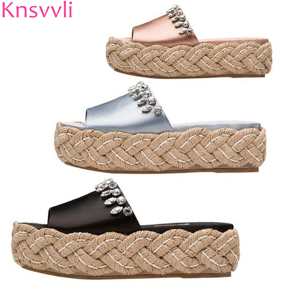 Summer Black Silk Crystal Hemp Rope Bottom Platform Slippers Women Champagne Color Concise Casual Thick Soled Mules Shoes Women concise platform and bow design slippers for women