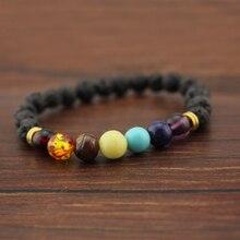 2017 Bracelet Men Black Lava Stone Energy Yoga Beaded Bracelet Bangle