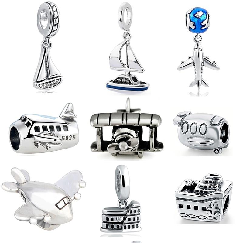 Diy design charm bracelet little boat and plane 925 silver pandora beads fit authentic bracelet pendant jewelry free shipping