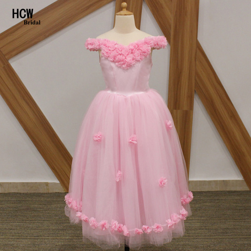 Pink   Flowers   Long   Girl   Party Gowns 2019 Boat Neck A Line Tulle   Flower     Girls     Dresses   Cheap Little   Girl   Pageant   Dress