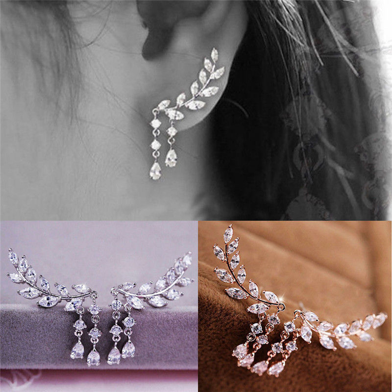 Shellhard Luxury CZ Crystal Stud Earring Copper Silver Color Earrings Long Leaves Zircon Earrings For Women