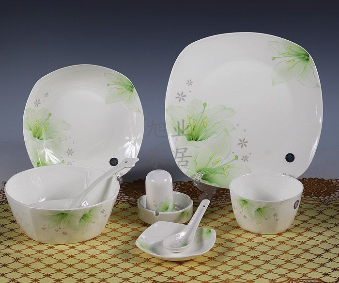 YH Jingdezhen ceramic 56PCS LOT quality porcelain tableware at home gift plate bowl dish spoon gift