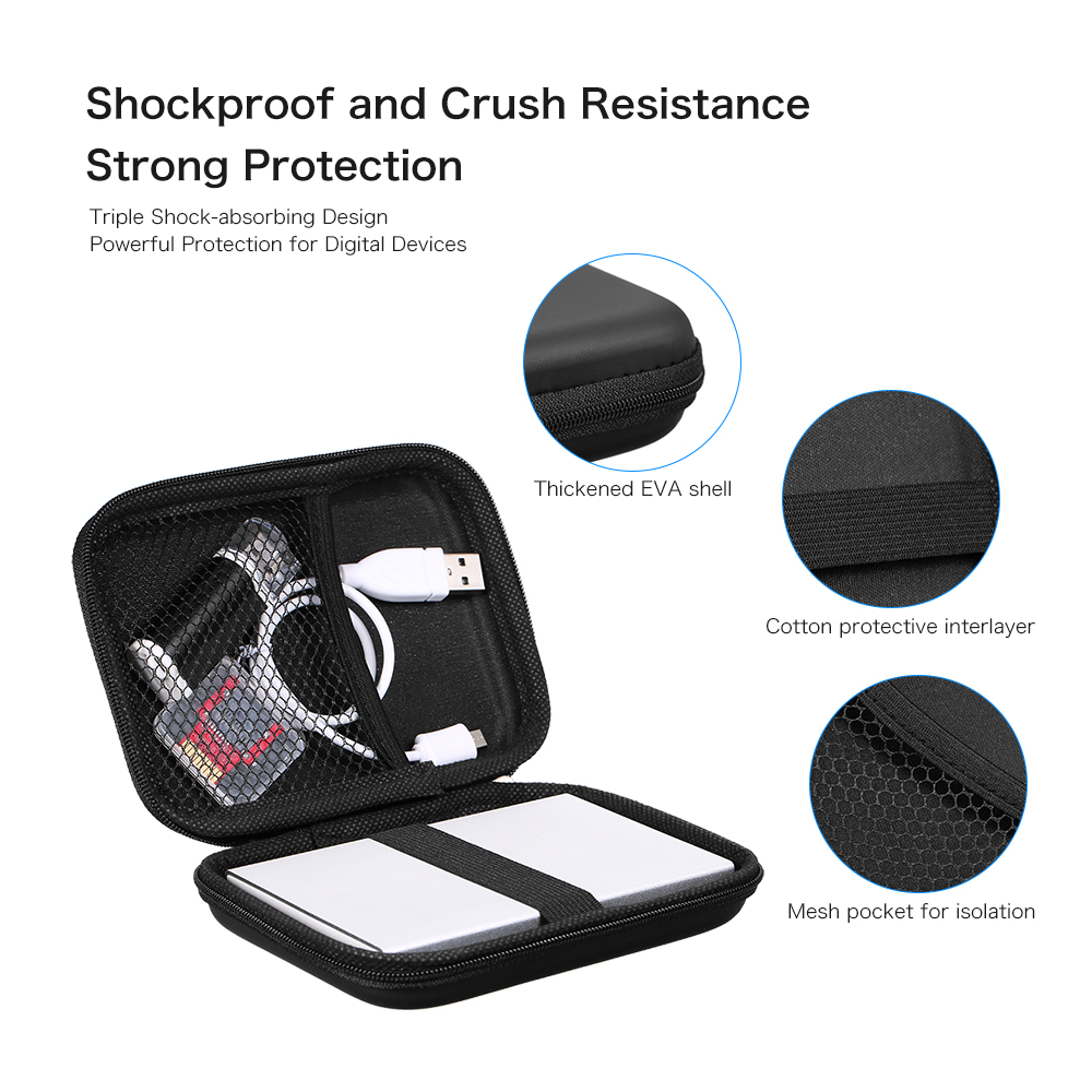 Hard Drive Bags & Cases Eva Shockproof 2.5inch Hard Drive Case Pouch Bag 2.5 External Hdd Power Bank Accessories Hand Carry Travel Case Protect Bag Clearance Price