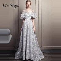 Это Yiiya вечернее платье 2019 Роскошные бисер жемчуг цветы серый Flare рукавом поезд торжественное LX1600 цветочный халат de soiree