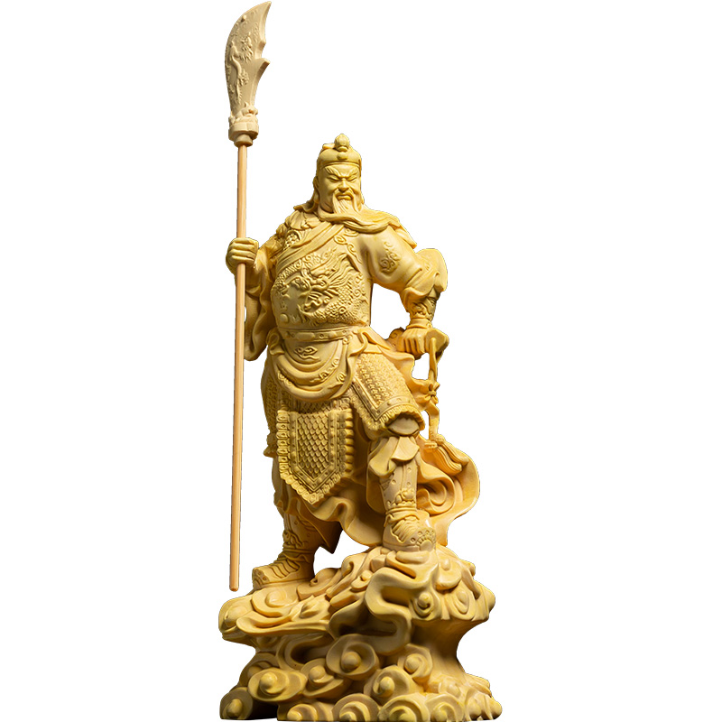 Force God BIG Knife Guan Gong statues Buxus Wood Statue Home decors Room Solid Wooden Guanyu