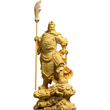 16CM Door God Guan Gong Figurine Guan Yu statue Wood Statue Home Decors Room Solid Wood Chinese History Figures Lucky Gift Fortu
