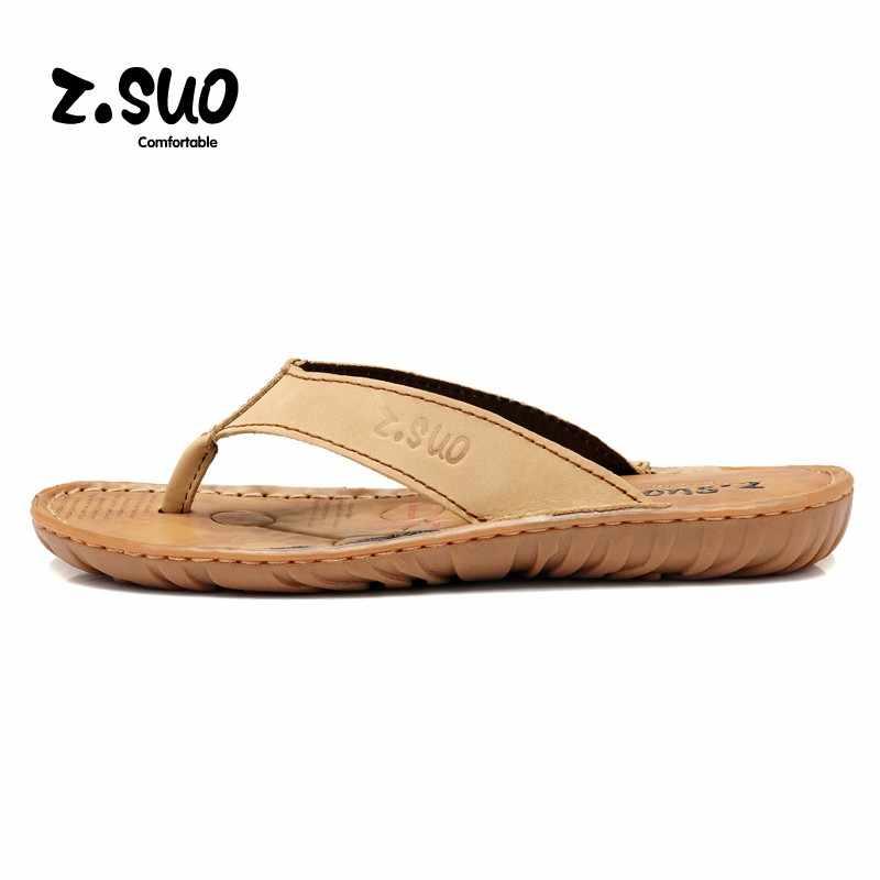 82b8cb3f0 Z. Suo Men's flip flops Genuine leather Slippers Summer fashion beach sandal  shoes for men