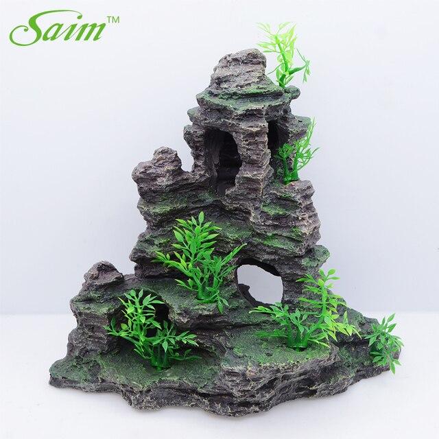 Mountain Fish Tank Ornaments Aquarium Decoration Rockery With Cave Landscape 1