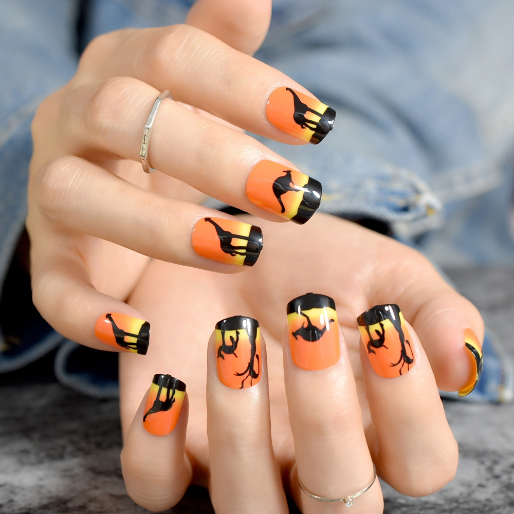 Medium Square French Acrylic Fake Nails Orange Black ...