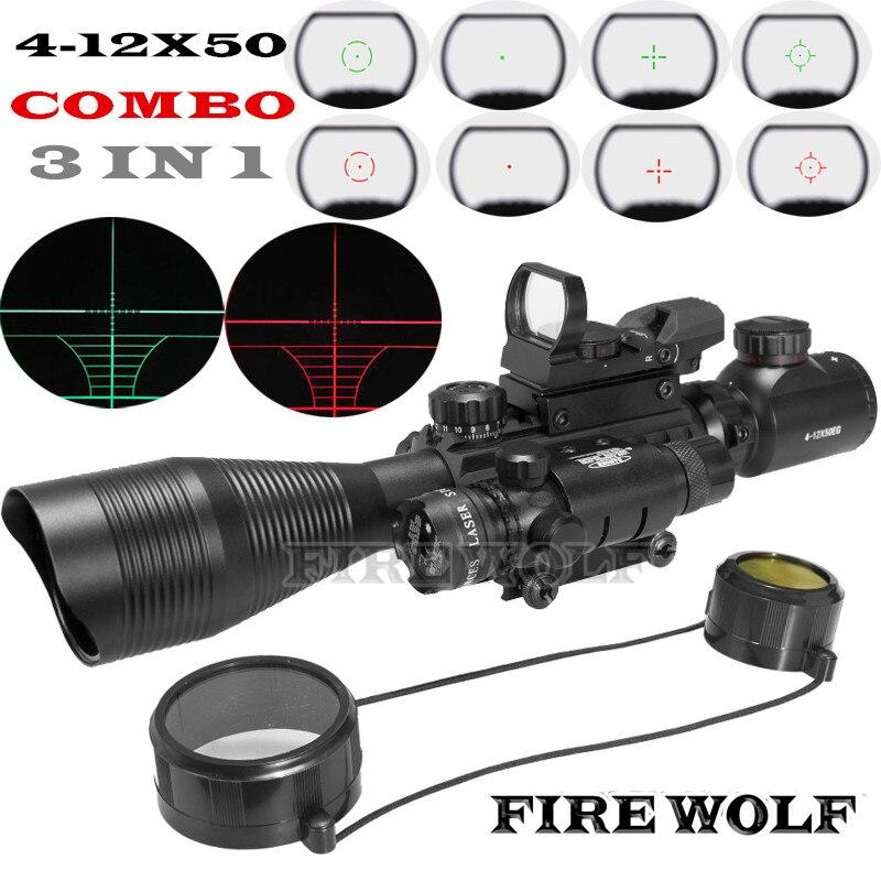 Здесь продается  FIRE WOLF  4-12X50 Illuminated Rangefinder Reticle Rifle Scope Holographic 4 Reticle Sight  Red Green Laser Combo Riflescope  Спорт и развлечения