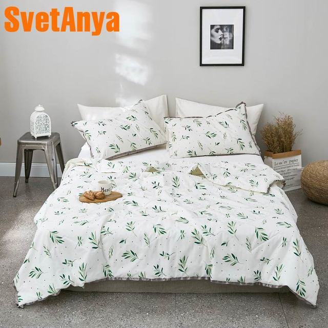 Svetanya 2019 green Plants printed Quilt stiching bedding Throws Blanket (no Pillowcase) Single Double size