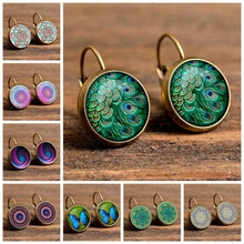 New Fashion bohemian 15 Styles Vintage  Earrings For Women Party Jewelry Gifts Patten Flower Stud Gold Color Wholesale