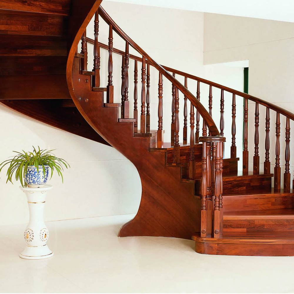 Solid Wood  Interior Rotation Stair Pole Armrest Home Stair Railing  And Rome Column Handrail Spiral Stair
