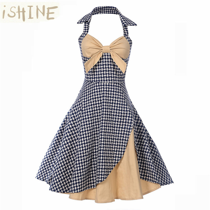ISHINE 2017 Pin up Vintage Autumn Dress Retro Hepburn 50s Rockabilly Floral Print Halter A-line Party Dresses Feminino Vestidos