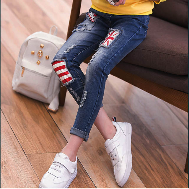 c5e31bd0a81 Online Shop Kids Clothing 2019 Spring and Autumn new girls jeans  personality Rice word small straight pants casual Children jeans