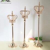 3PCS Metal Candle Holders Candelabra Table Centerpiece Flower Vase Crown Candelabrum Stand Pillar Candlestick For Wedding G05102