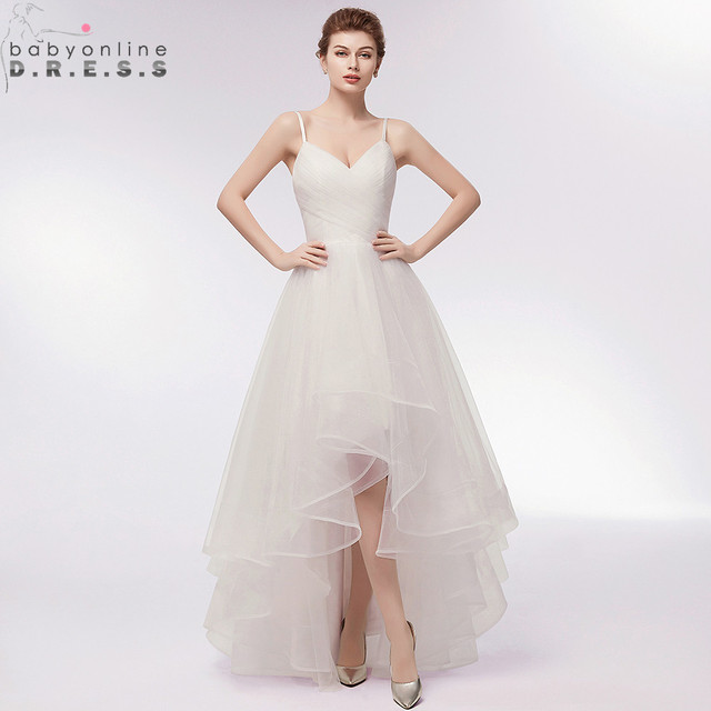 Us 89 99 40 Off Charming Simple Style High Low Wedding Dress Sexy V Neck Spaghetti Straps Lace Up Bridal Dress Robe De Mariee In Wedding Dresses