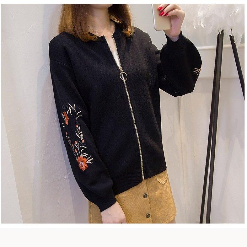 Autumn Women Floral Embroidered Bomber   Jacket   Flower Long Sleeve   Basic     Jacket   Female Lantern Sleeve Knitted Coat