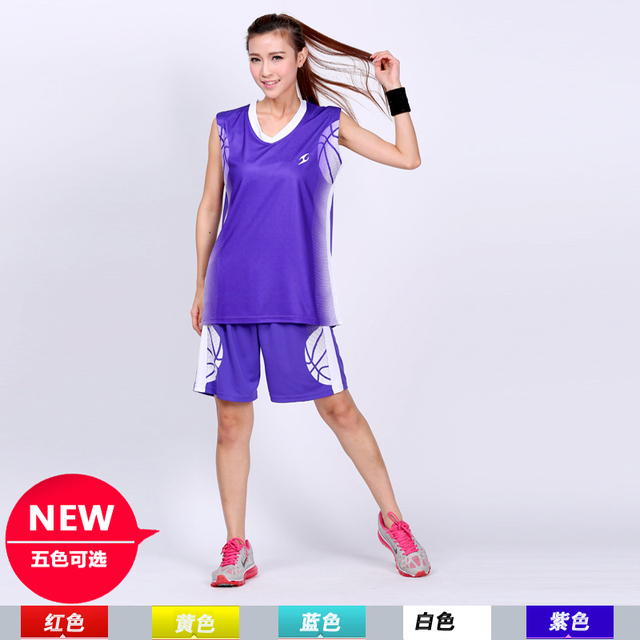 New women Girls basketball clothes fashion cool basketball clothes set  jersey shorts 5-colors sleeveless trainning clothing fe542a40da