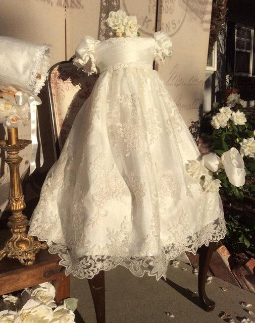 2017 Infant Baby Girl Christening Dress Todder Baptism Gown Lace Satin White/Ivory With Bonnet Free Shipping
