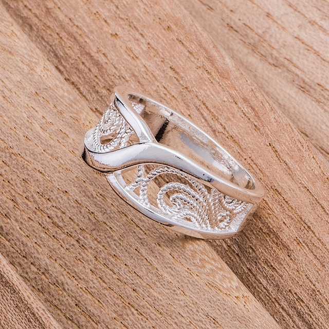 rounded hollow shiny Wholesale silver plated ring 925 Fashion jewelry Silver Rin